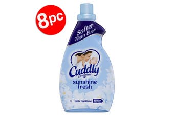 8PK Cuddly 1L Laundry/Clothes Fabric Softener Conditioner Concentrated Sunshine
