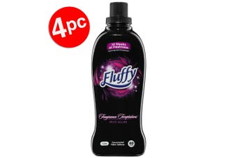 4PK Fluffy 1L Fabric Softener Concentrated Laundry/Clothes 40 Wash Spice Allure