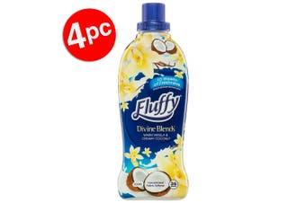 4PK Fluffy 900ml Fabric Softener Concentrate Divine Blends Vanilla & Coconut
