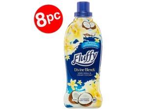 8PK Fluffy 900ml Fabric Softener Concentrate Divine Blends Vanilla & Coconut