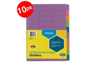 10x Marbig A4 Dividers for Binder/Arch Files Colour Coding Paper/File Organiser