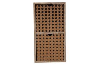 Wood/Cork-Front Mini 2-Drawer Set 11x22cm Decorative Storage Home Decor Brown