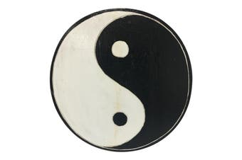 Hand Carved 30cm Round Yin-Yang Wood Wall Art Hanging Home Decor Black/White