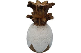 Decorative 20cm Hand Carved Wood Pineapple Sculpture w/Natural Home Room Decor