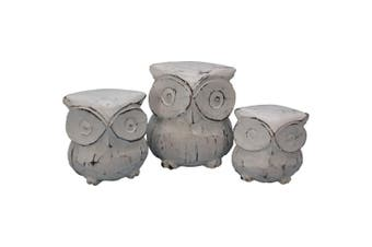3pc Wooden Hand Carved Owls Sculpture 11cm/9cm/7cm Home Room Decor Assorted WHT