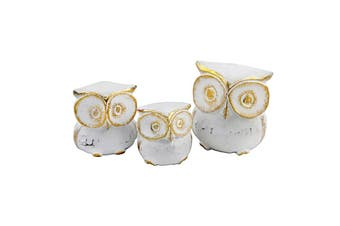 3pc Hand-Carved Owls Wood Sculpture 11x7/9x6/7x5cm Brushed White/Gold Assorted
