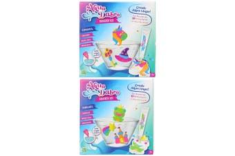 2PK Aqua Dabra 3D Paint Toy Fantasy Kit Frog & Unicorn w/Magic Water/Moulds 5y+