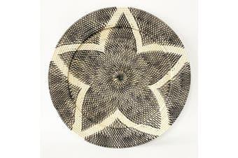 Large Handwoven 60cm Rattan Flower Tray/Wall Art Hanging Home Decor Black/White