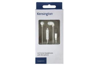 Kensington 3.5mm In Ear Headphones/Earphones Headset w/Microphone Mic White