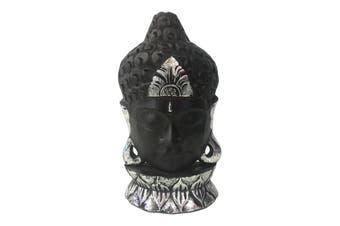 Hand Carved 30cm Buddha Head Decoration Wood Sculpture Decor Dark Brown w/Silver