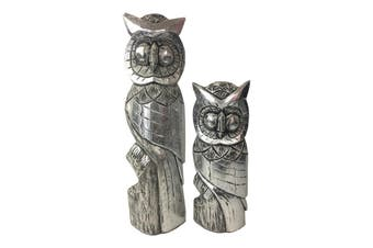 2pc Hand Carved 40cm/60cm Owls Decoration Wood Sculpture Table Home Decor Silver