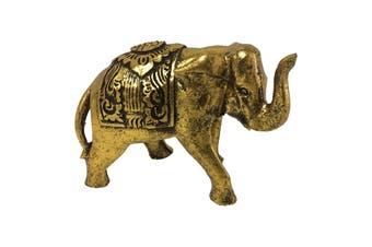 Antique 18cm Elephant Mum Sculpture Figurine Decoration Home Decor Gold/Black