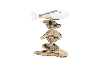 Decorative Fish on Driftwood Base 30cm Wood Sculpture Home Table/Desk Decor BR