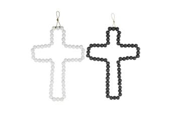 Wood 42cm Decorative Beaded Cross Wall Hanging Christmas Decor Grey & Black Set