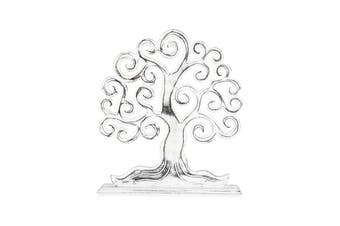 Hand-Carved 27cm Tree-of-Life Sculpture Table Plaque Home Desk Room Decor White