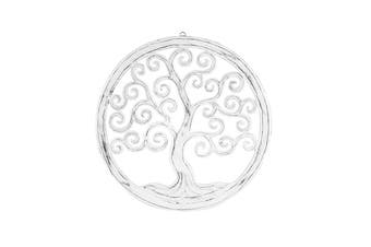 Hand-Carved Wood Round 50cm Tree-of-Life Wall Art Hanging Home Room Decor White