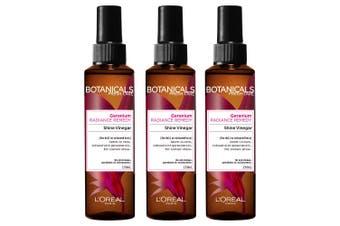 3PK Loreal Paris 150ml Hair Care Botanicals Geranium Oil Reviving Shine Vinegar