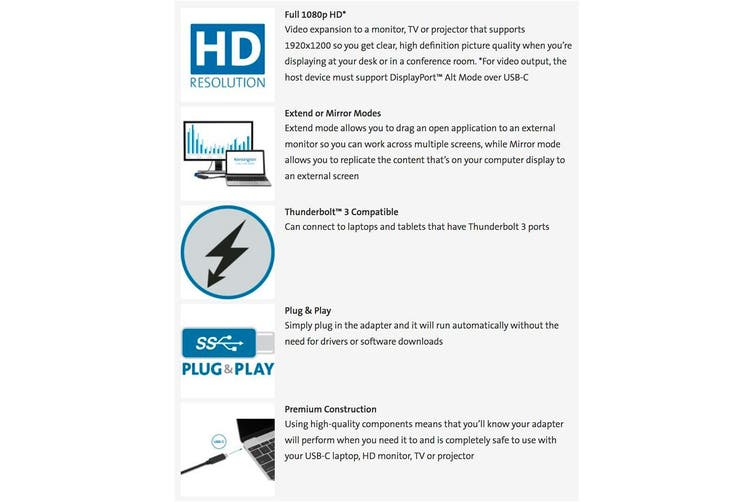 Kensington USB-C to VGA Full HD Video Adapter/1080p/Thunderbolt 3/Plug & Play
