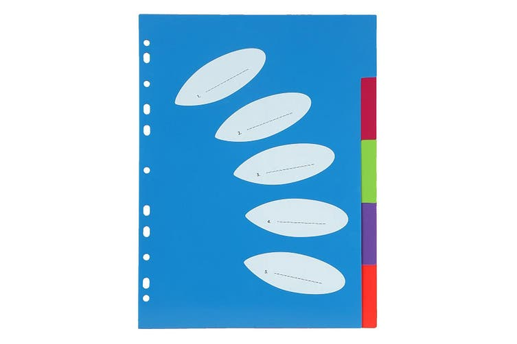 ColourHide A4 5 TAB Paper/File/Subject Tabs Dividers Office/School Notebook Blue