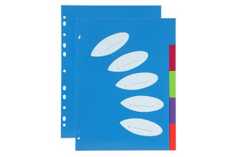 2PK ColourHide A4 5 TAB Paper/File/Subject Dividers Office/School Notebook Blue