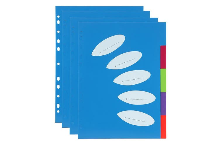 4PK ColourHide A4 5 TAB Paper/File/Subject Dividers Office/School Notebook Blue