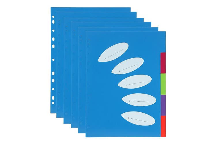 6PK ColourHide A4 5 TAB Paper/File/Subject Dividers Office/School Notebook Blue