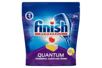34PK Finish Powerball Quantum Lemon Sparkle Dishwashing Tablets for Dishwasher
