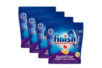 136PK Finish Powerball Quantum Lemon Sparkle Dishwashing Tablets for Dishwasher