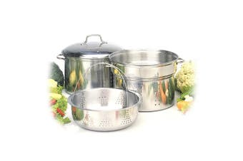4pc Stainless Steel 7.6L Stockpot Food Steamer Basket & Strainer Colander Pasta