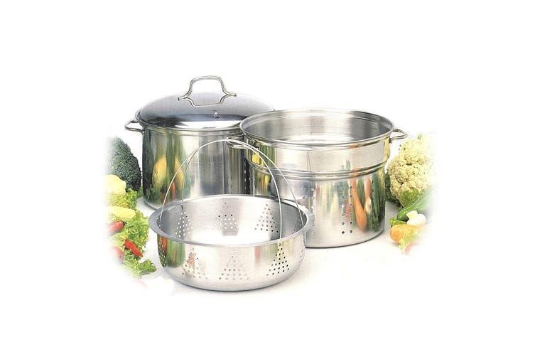 4pc Stainless Steel 7.6L Stockpot Food Steamer Basket & Strainer Colander Pasta