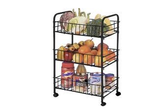 3 Tier Kitchen Trolley Cart Storage Rack Vegetable Food Basket w/ Wheels Black
