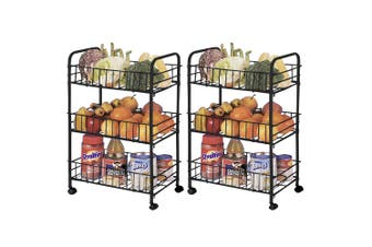 2x 3 Tier Kitchen Trolley Cart Storage Rack Vegetable Food Basket w/Wheels Black