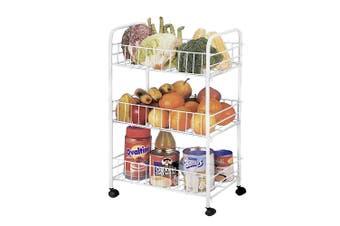 3 Tier Kitchen Trolley Cart Storage Rack Vegetable Food Basket w/ Wheels White