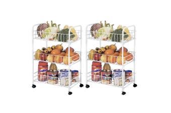 2x 3 Tier Kitchen Trolley Cart Storage Rack Vegetable Food Basket w/Wheels White
