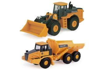 John Deere 1:64 Die-Cast Mini Wheel Loader Farm Vehicle w/ Dump Truck Kids 3y+