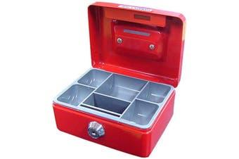 Red Mini Portable Sturdy Metal Cash/Money Box Organiser/Coins/Safe/Keys/Lock