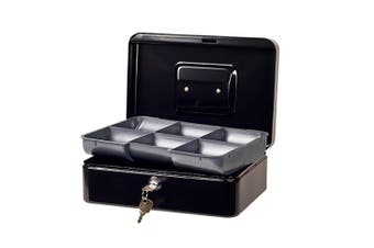 Esselte Portable Classic Cash/Money Box No.8 Organiser/Coins Tray/Key Lock Black