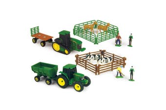 20pc John Deere BK/WH Cow w/BW Horse Tractor/Wagon/Figurines Kids Farm Toy Set