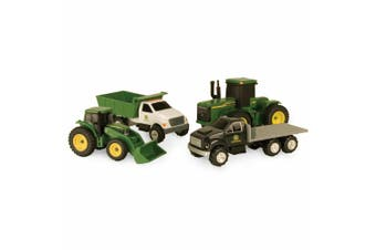 4pc John Deere Carded Diecast Toys Tractor/Trucks Farming Vehicles Gift Set GRN