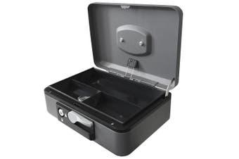 Esselte 23cm Metal Cash/Money Box No.10 Organiser/Coins Tray/Key Lock Black