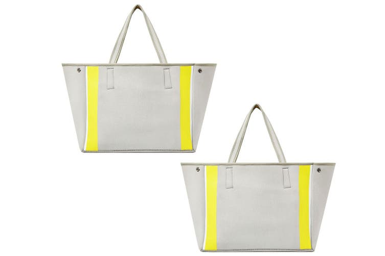 2x Urban Originals Women Byron Neoprene Tote Handbag Removable Pouch Grey/Yellow