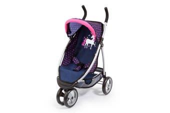 Bayer 69cm Pram/Doll Stroller Jogger Navy w/Pink Hearts & Unicorn Kids Toy 3y+