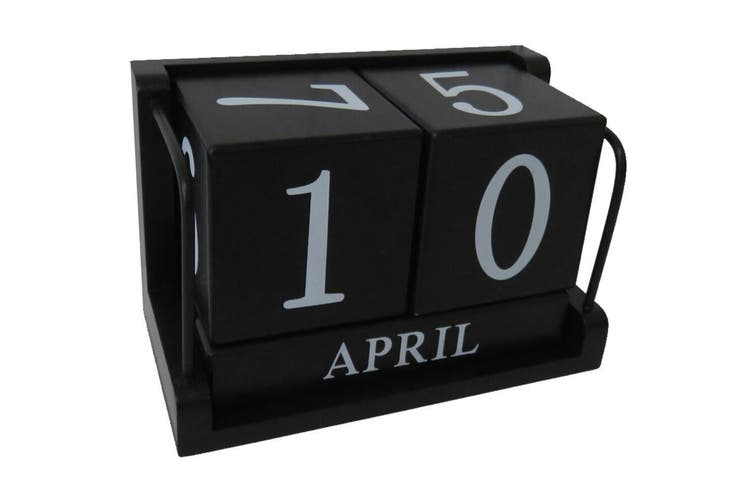 Perpetual 18x11cm Desk/Table Wood Calendar Month/Date Home Decor Large Black