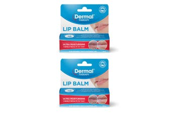 2x Dermal Therapy 10g Ultra Moisturising Balm/Hydrating Pod for Dry/Chapped Lips