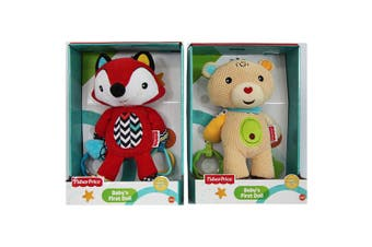2PK Fisher Price Fox/Bear First Doll 25cm Soft/Educational Toy w/Rattle Baby 0m+
