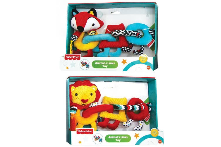 2PK Fisher Price Lion/Fox Animal Links/Rings Educational/Teether Toy Baby 6m+