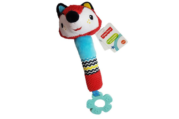 2PK Fisher Price Squeak Rattle Educational Lion/Fox Toy Teether Baby/Infant 0m+