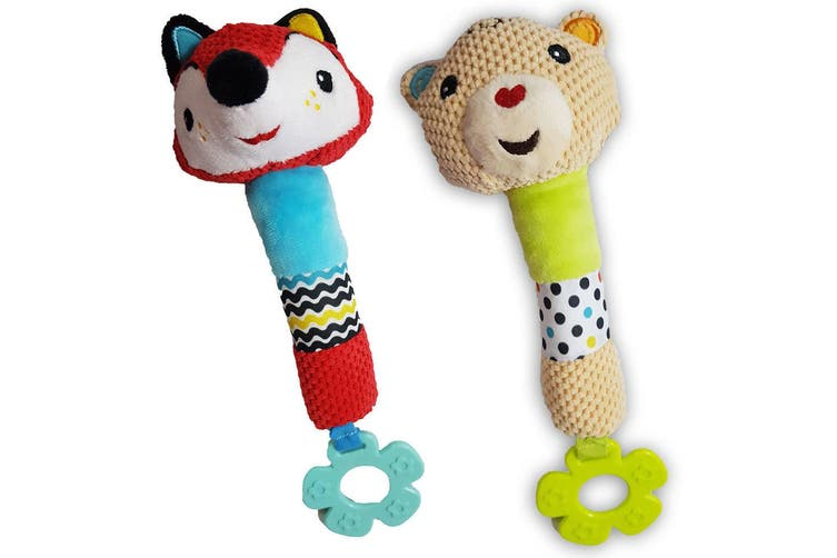 2PK Fisher Price Squeak Rattle Educational Bear/Fox Toy Teether Baby/Infant 0m+