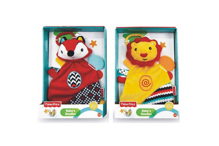 2PK Fisher Price Doudou Lion/Fox Educational/Interactive Teether w/Clip Toy 0m+