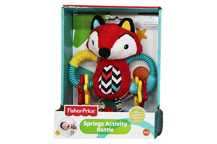 Fisher Price Baby Fox Spring Activity Rattle Educational Teether Toy 0m+